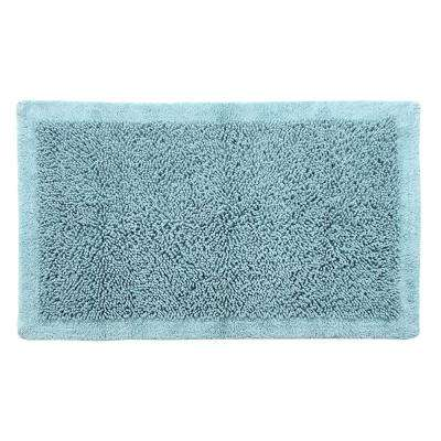 Bath Rug Cotton and Chenille 34 in. x 21 in. in. Latex Spray Non-Skid Backing Blue Color Long Noodle Loop Pattern
