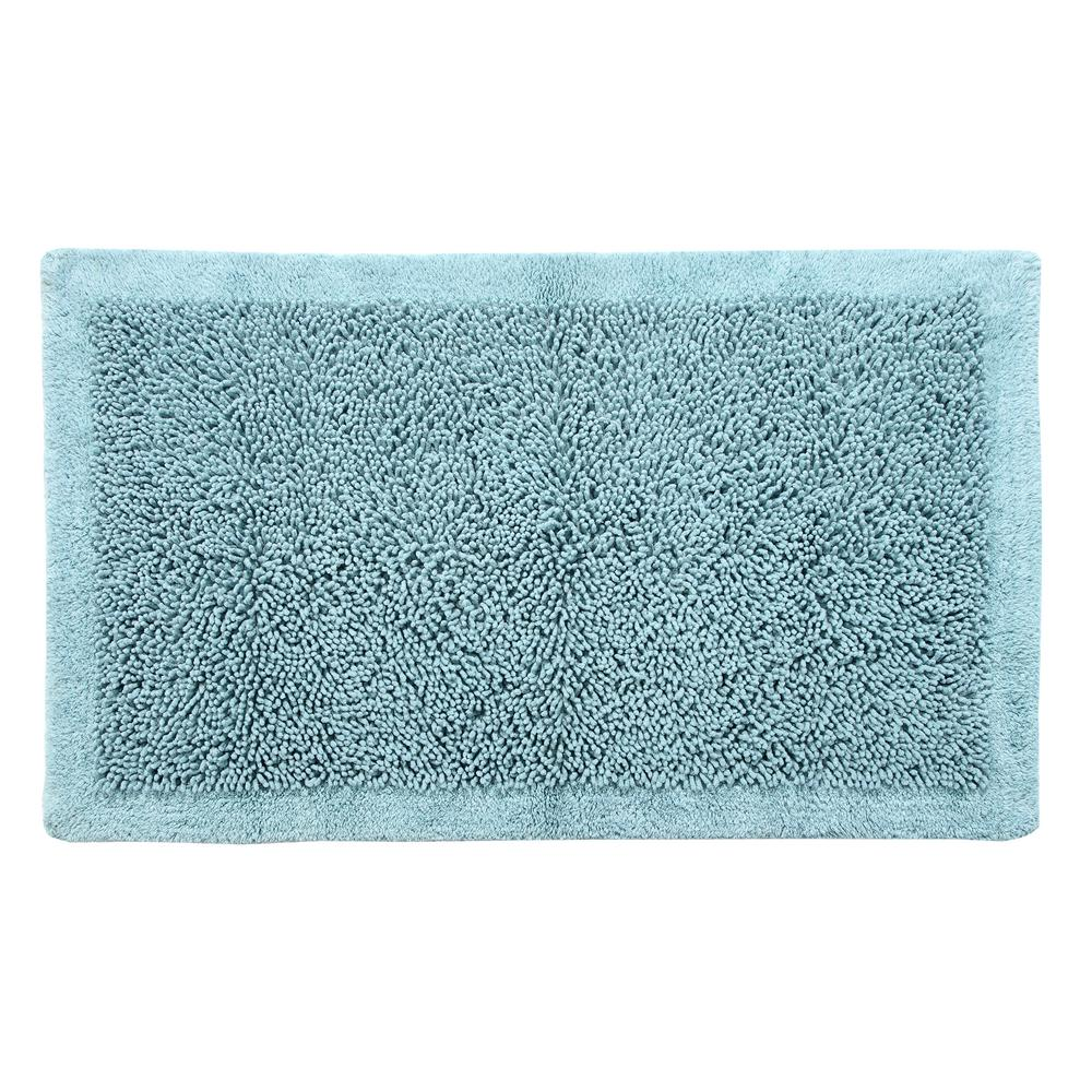 Saffron Fabs Bath Rug Cotton And Chenille 50 In X 30 Latex Spray Non Skid Backing Blue Color Long Noodle Loop Pattern