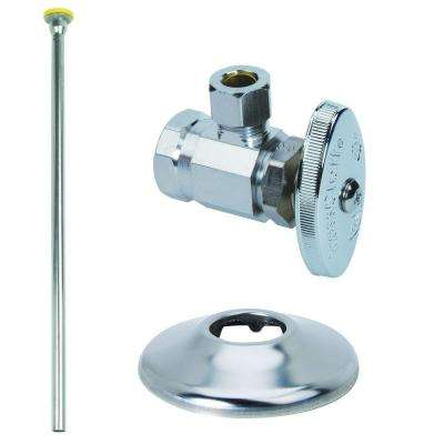 Toilet Kit: 1/2 in. FIP x 3/8 in. O.D. Compression Brass Multi-Turn Angle Valve with 12 in. Riser and Flange
