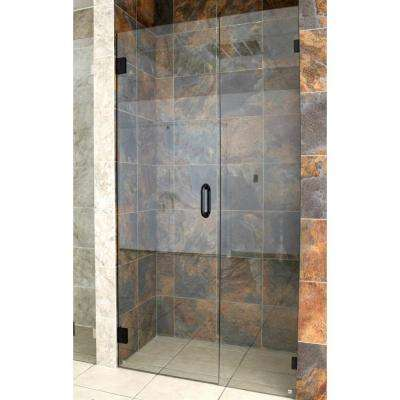 40 in. x 78 in. Frameless Hinged Glass Panel Shower Door in Oil Rubbed Bronze with Handle