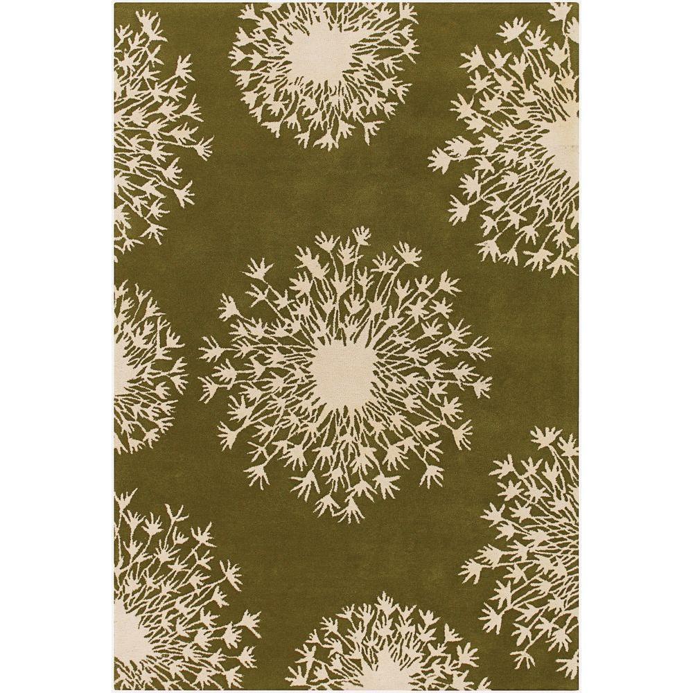 Chandra Thomaspaul Green/Cream 5 ft. x 7 ft. 6 in. Indoor Area Rug
