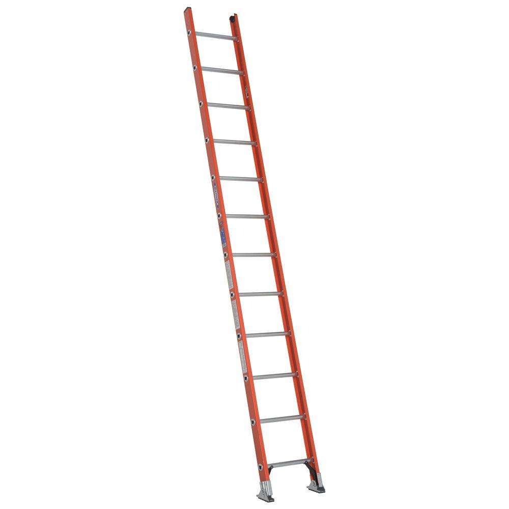 12 ft. Fiberglass D-Rung Straight Ladder with 300 lb. Load Capacity