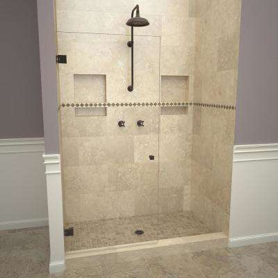 2300V Series 78 in. W x 76 in. H Frameless Pivot Shower Door in Oil Rubbed Bronze with Knobs