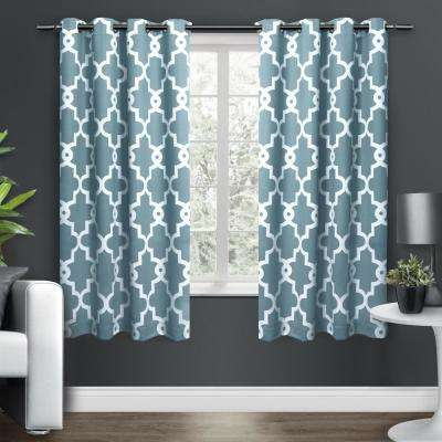 Ironwork 52 in. W x 63 in. L Woven Blackout Grommet Top Curtain Panel in Teal (2 Panels)