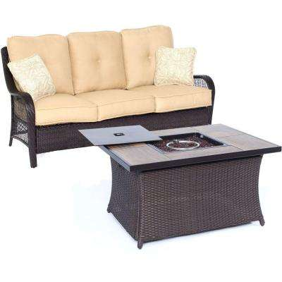 Orleans 2-Piece All-Weather Wicker Patio Fire Pit Seating Set with Sahara Sand Cushions