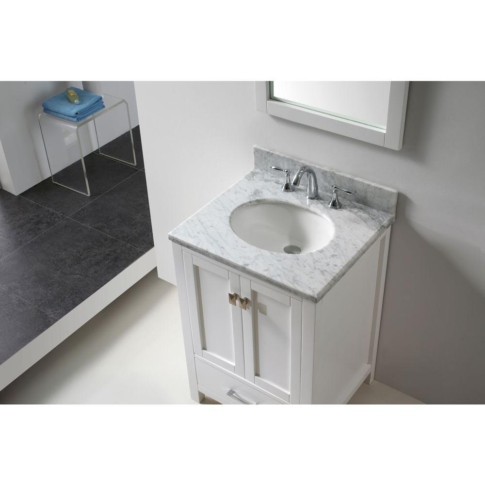 Caroline Avenue 25 in. W Bath Vanity Cabinet Only in White