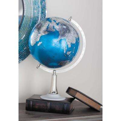 20 in. x 13 in. Modern Decorative Globe in Blue and Silver