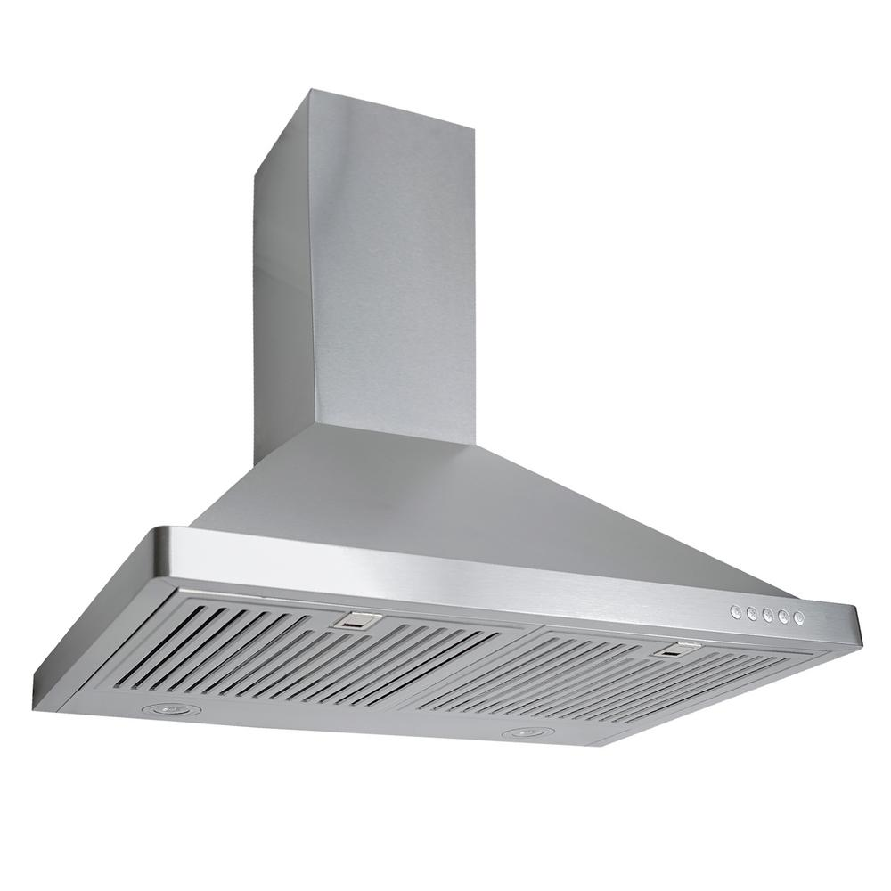 30 in. Ducted Wall Mount Range Hood in Stainless Steel with