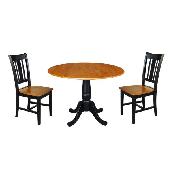 Laurel 3-Piece Black and Cherry 42 in. Dropleaf Table and San Remo Side Chair Dining Set