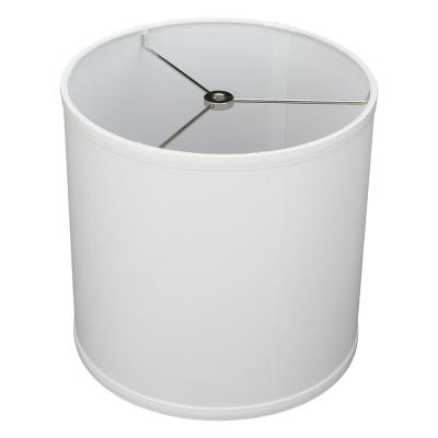 Fenchel Shades 10 in. Top Diameter x 10 in. H x 10 in. Bottom Diameter White Fabric Drum Lamp Shade Spider Attachment