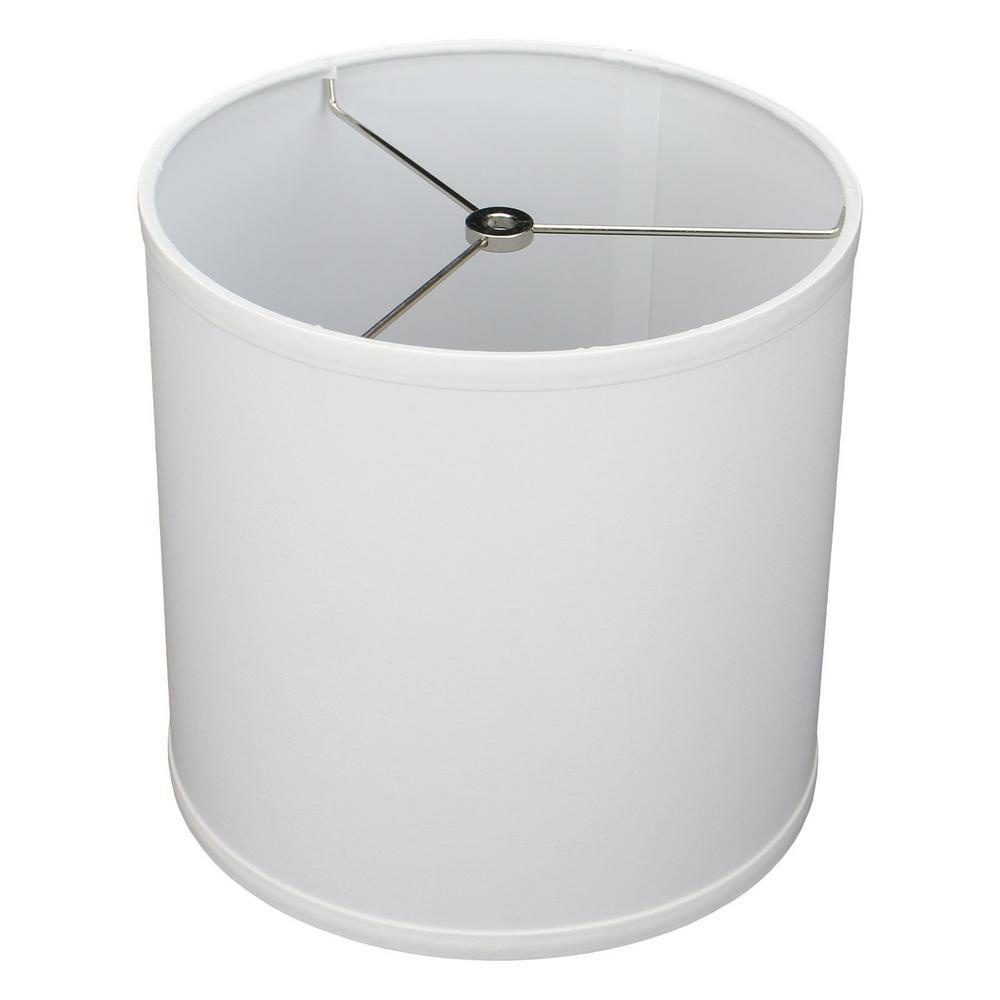 Fenchel Shades 10 in. Top Diameter x 10 in. H x 10 in. Bottom Diameter White Fabric Drum Lamp Shade Spider Attachment