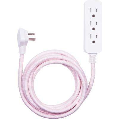 10 ft. 3-Outlet Extension Cord in Pink/White