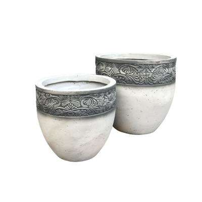 Lightweight Concrete Floral Scroll Foliage Round Greywash Planter (Set of 2)