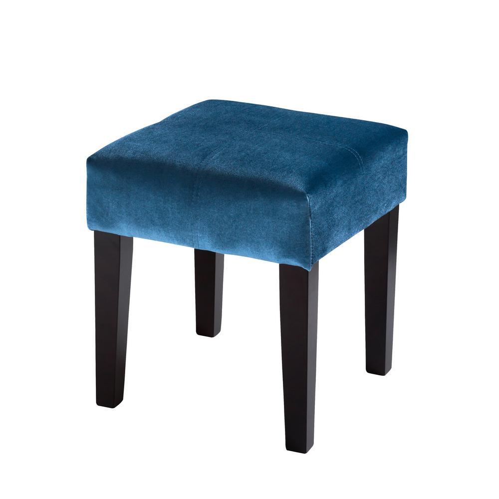 "Antonio 16"" Square Bench in Blue Velvet"