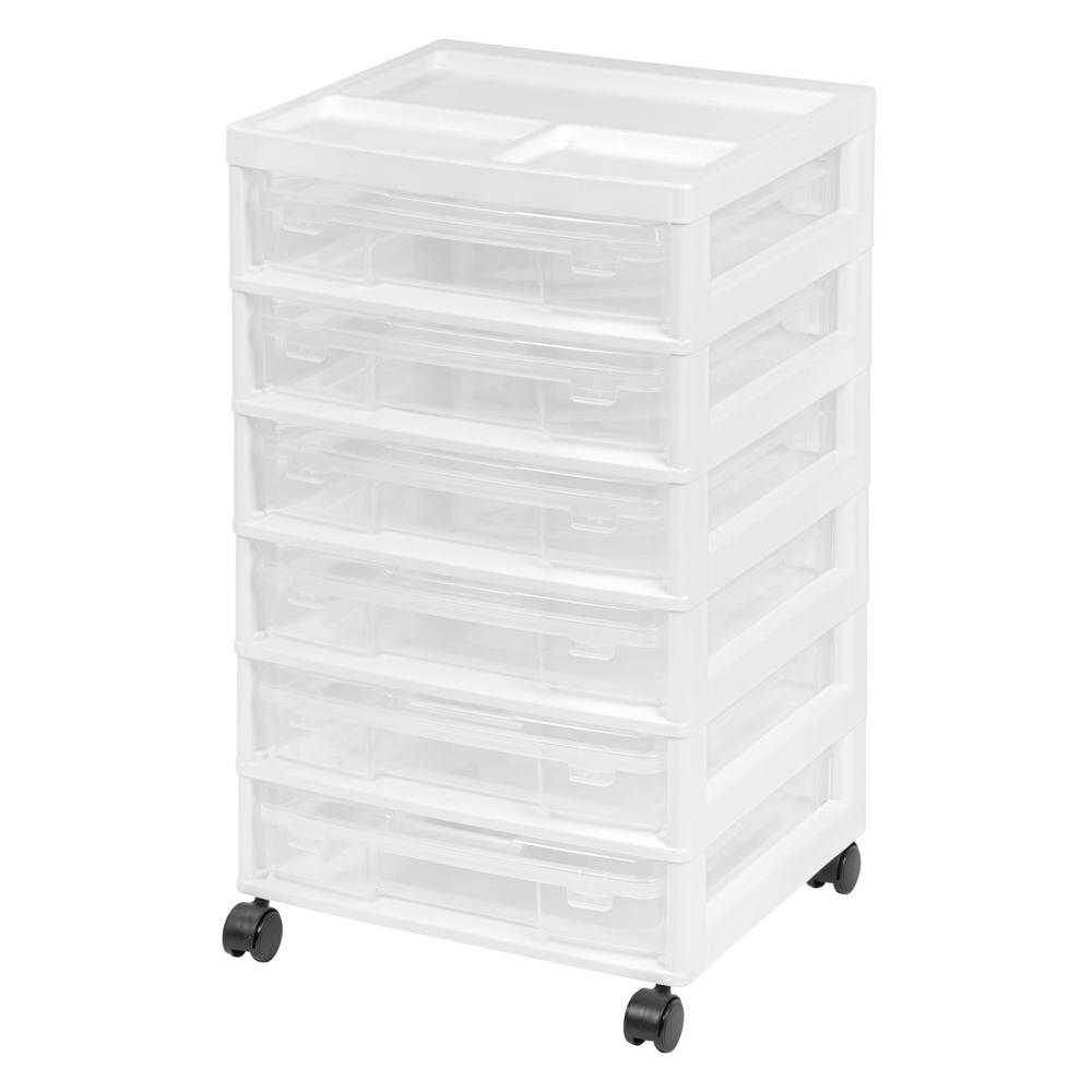 IRIS 6 Case Scrapbook Cart in White This 6-case scrapbook cart is great for organizing and storing your scrapbook projects and supplies. With six double latched 12 in. x 12 in. cases and a built in organizer top, this is the perfect storage solution in any craft room. Not only can it hold all of your scrapbook paper, but all of your scissors, embellishments, and pens too. Color: White.