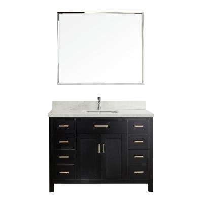 Kalize II 48 in. W x 22 in. D Vanity in Espresso with Engineered Vanity Top in White with White Basin and Mirror