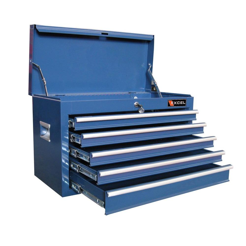 Excel 26 in. W x 12 in. D x 15.9 in. H 5-Drawer Steel Top Chest, Blue