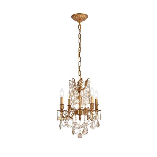 Timeless Home 17 in. L x 17 in. W x 21 in. H 4-Light French Gold with Golden Teak Crystal Traditional Pendant