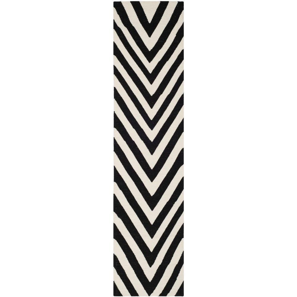 Dhurries Black/Ivory 3 ft. x 10 ft. Runner Rug