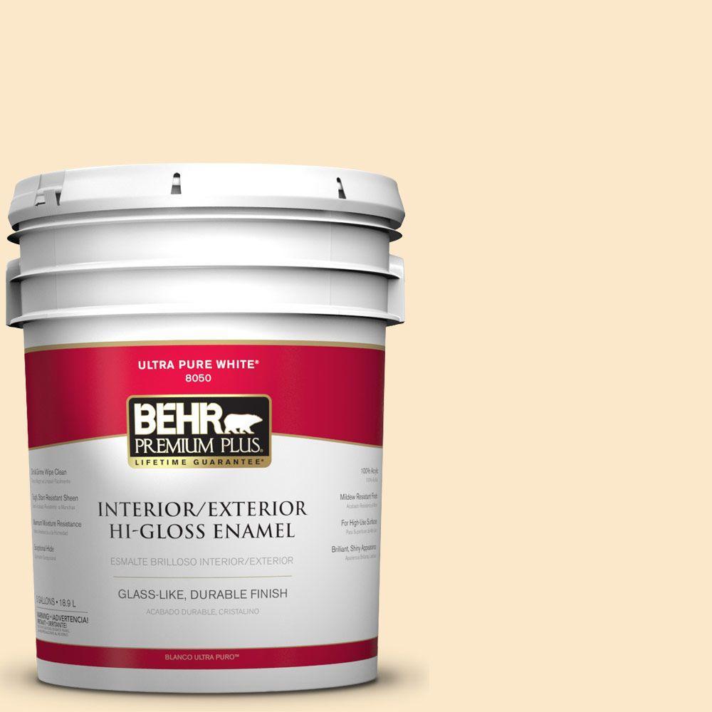 BEHR Premium Plus 5-gal. #YL-W2 Spanish Lace Hi-Gloss Enamel Interior/Exterior Paint