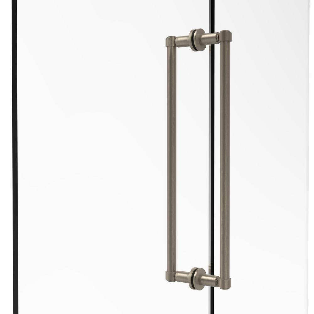 Contemporary 18 in. Back-to-Back Shower Door Pull in Antique Pewter