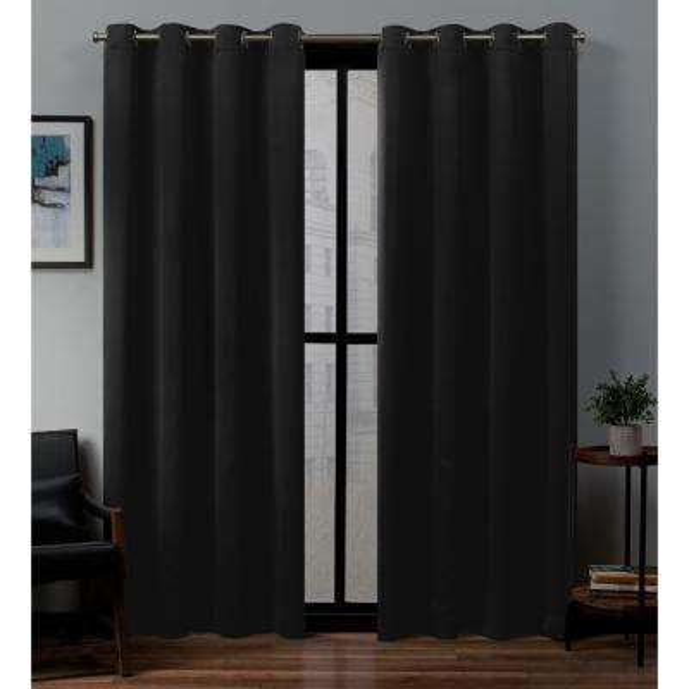 Sateen 52 in. W x 108 in. L Woven Blackout Grommet Top Curtain Panel in Black (2 Panels)