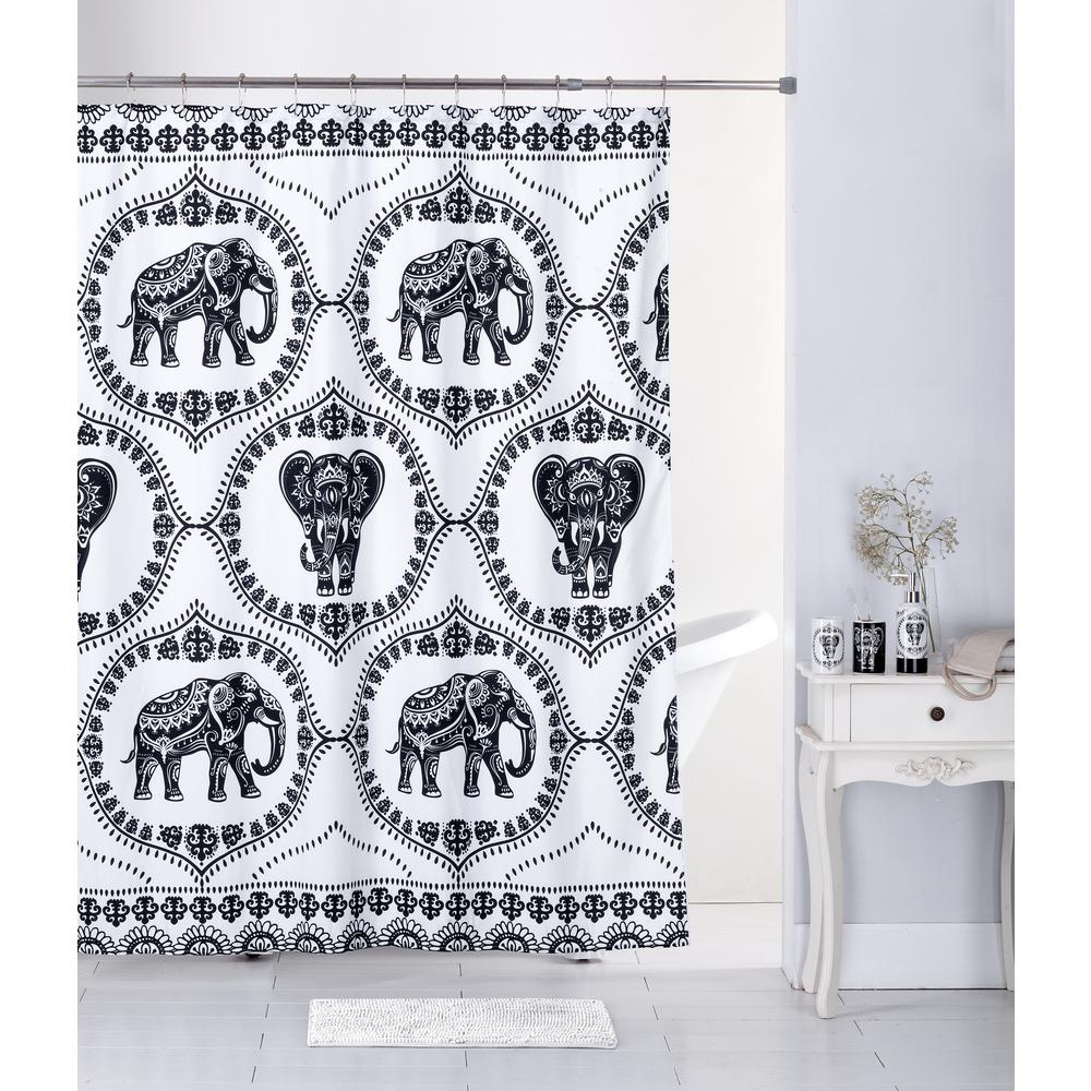 Internet 307347002 Lattice Elephant Multi Color Bath Rug Ceramic Accessories And Shower Curtain