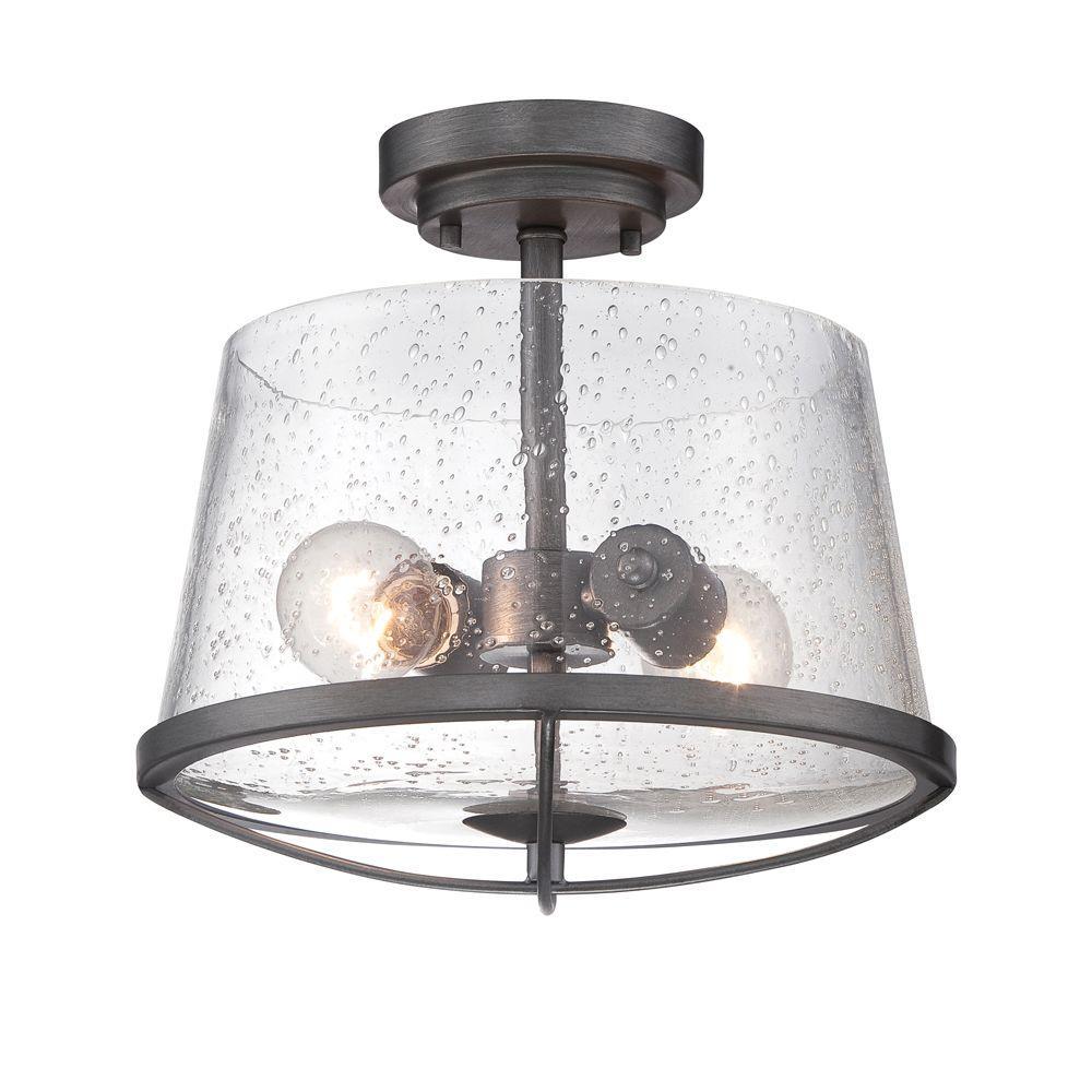 Darby 2-Light Weathered Iron Semi Flush Mount