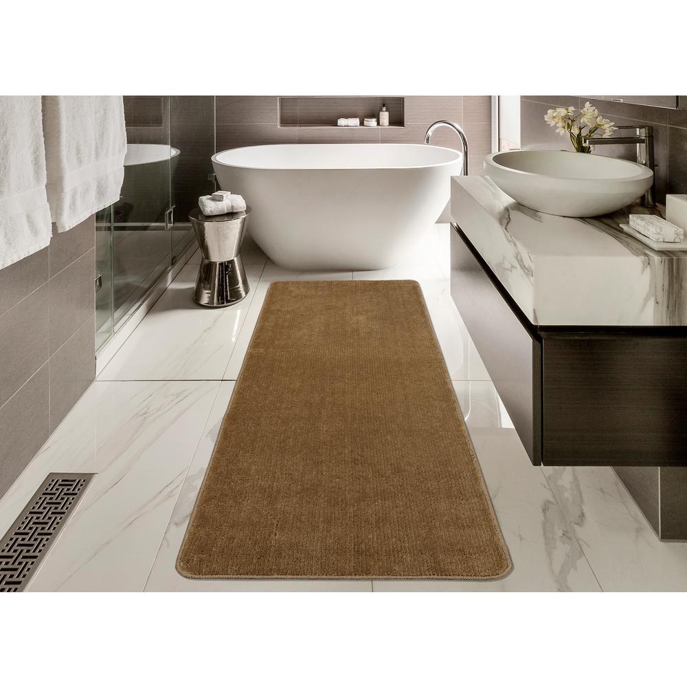 Ottomanson Solid Design Beige 2 ft. 2 in. x 6 ft. Non-Slip Bathroom ...