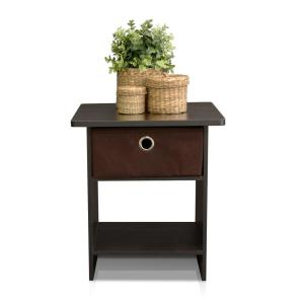 Furinno EX Home Espresso Bin Drawer End Table by Furinno