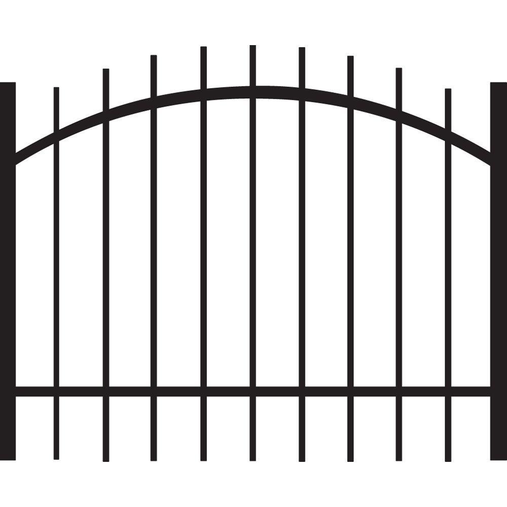 Brunswick Standard-Duty 4 ft. W x 3 ft. H Black Aluminum Arched Pre-Assembled Fence Gate