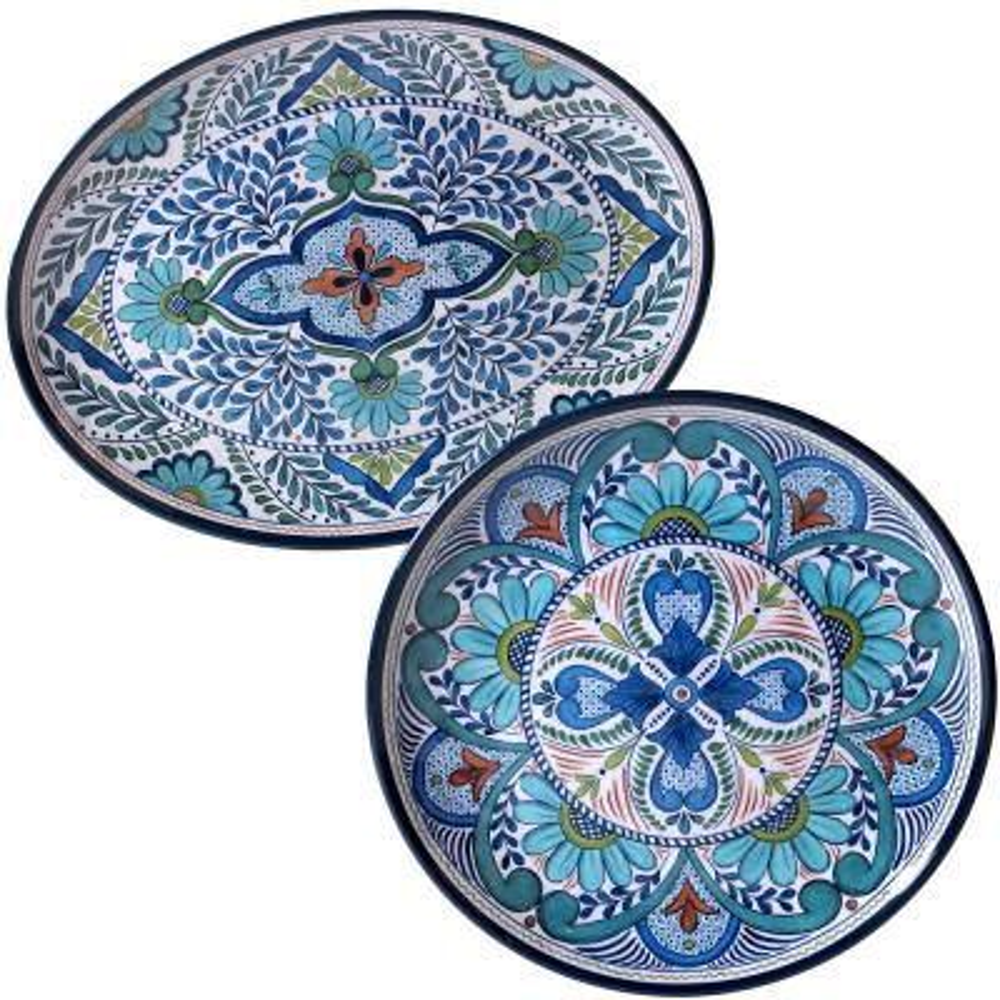 Talavera 2-Piece Blue Platter Set