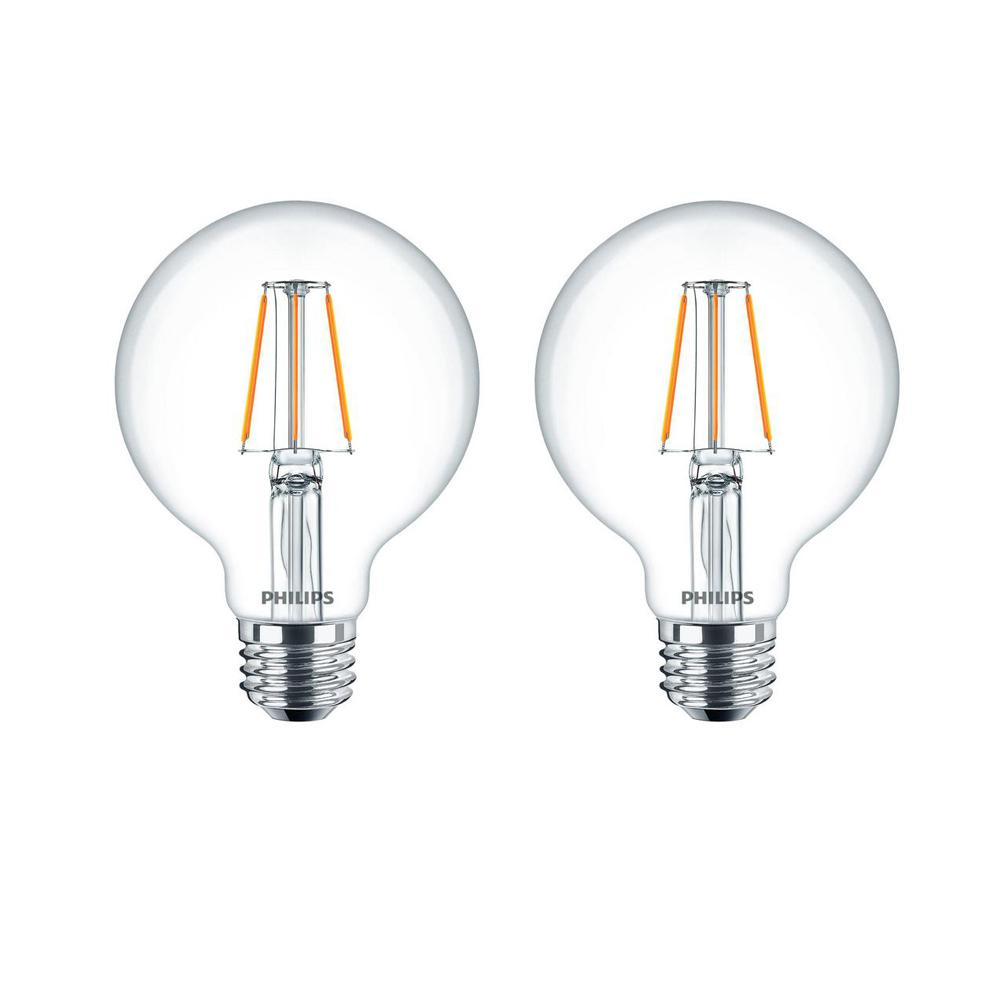 Philips 40-Watt Equivalent G25 Dimmable LED Light Bulb Clear Glass with Warm Glow Effect (2700K) (2-Pack)
