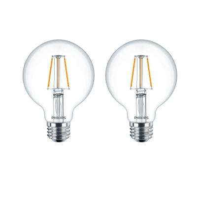 40-Watt Equivalent G25 Dimmable LED Light Bulb Clear Glass with Warm Glow Effect (2-Pack)