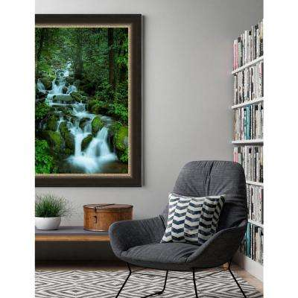 42.25 in. x 30.25 in. 'Falling in the Smokies' by Jason Clemmons Fine Art Canvas Framed Print Wall Art