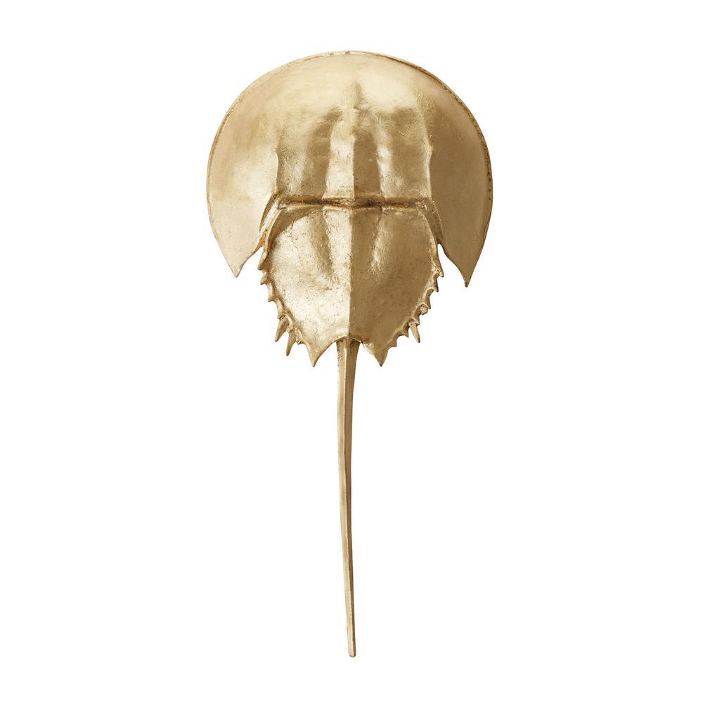 11 in. x 23 in. Mica Horseshoe Crab Decorative Figurine in Gold