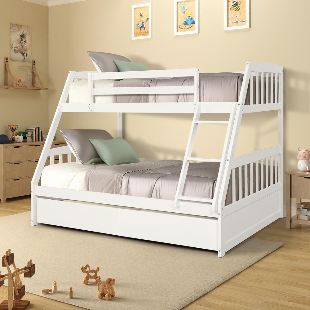 White Solid Wood Twin Over Full Bunk Bed with 2-Storage Drawers