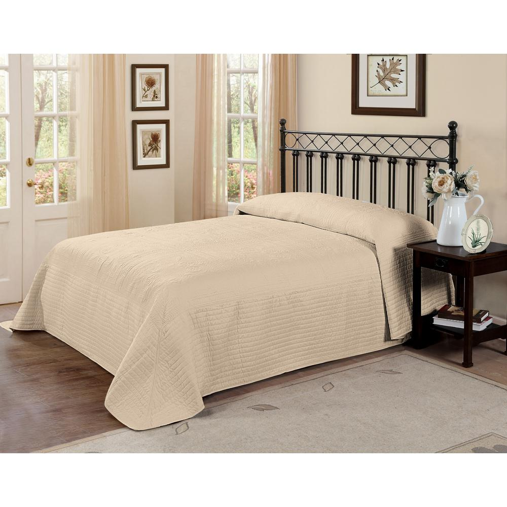 French Tile Quilted Cream (Ivory) Queen Bedspread