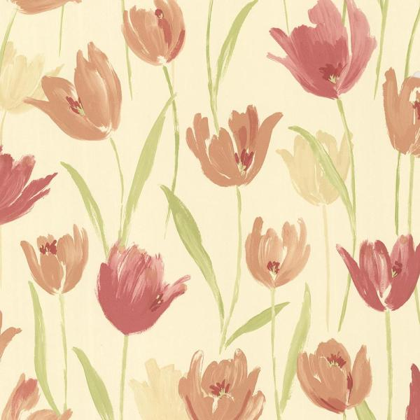 Brewster 56.4 sq. ft. Finch Red Hand Painted Tulips Wallpaper 347-20114