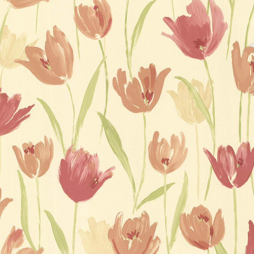 Finch Red Hand Painted Tulips Wallpaper Sample