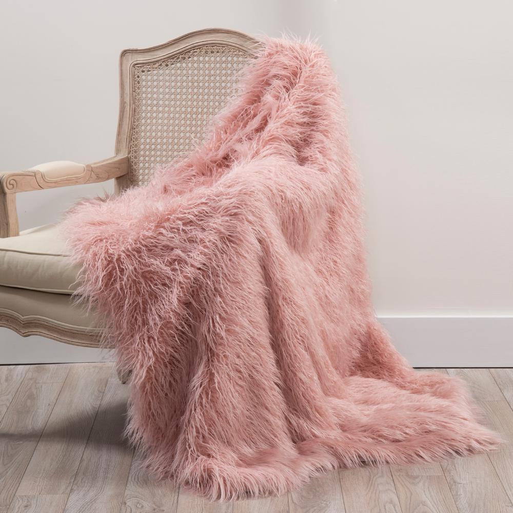 Faux Mongolian Lamb Fur 84 in. L Pink Throw