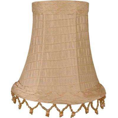 Stretch Bell Buttercream Dupione Silk Chandelier Shade with Horizontal Stitching and Pearl Beads