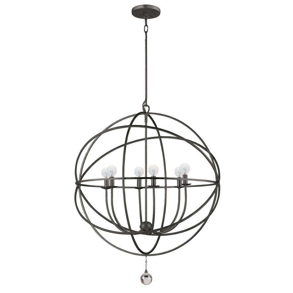 Solaris Collection 6-Light English Bronze Orb Chandelier