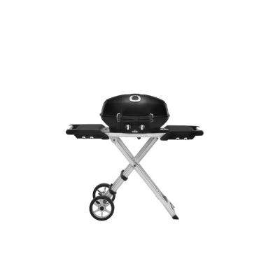 TravelQ PRO285 with Scissor Cart Propane Gas Portable Grill in Black
