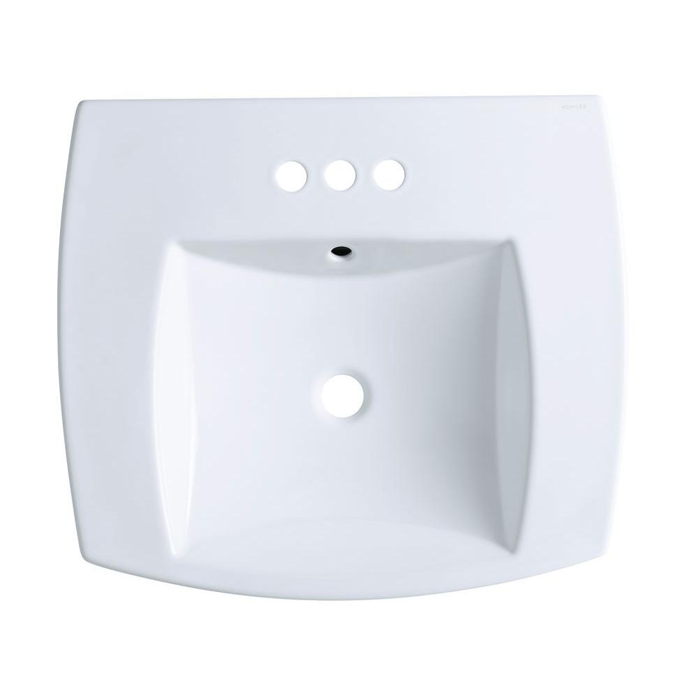 Kelston Drop-In Vitreous China Bathroom Sink in White with Overflow Drain