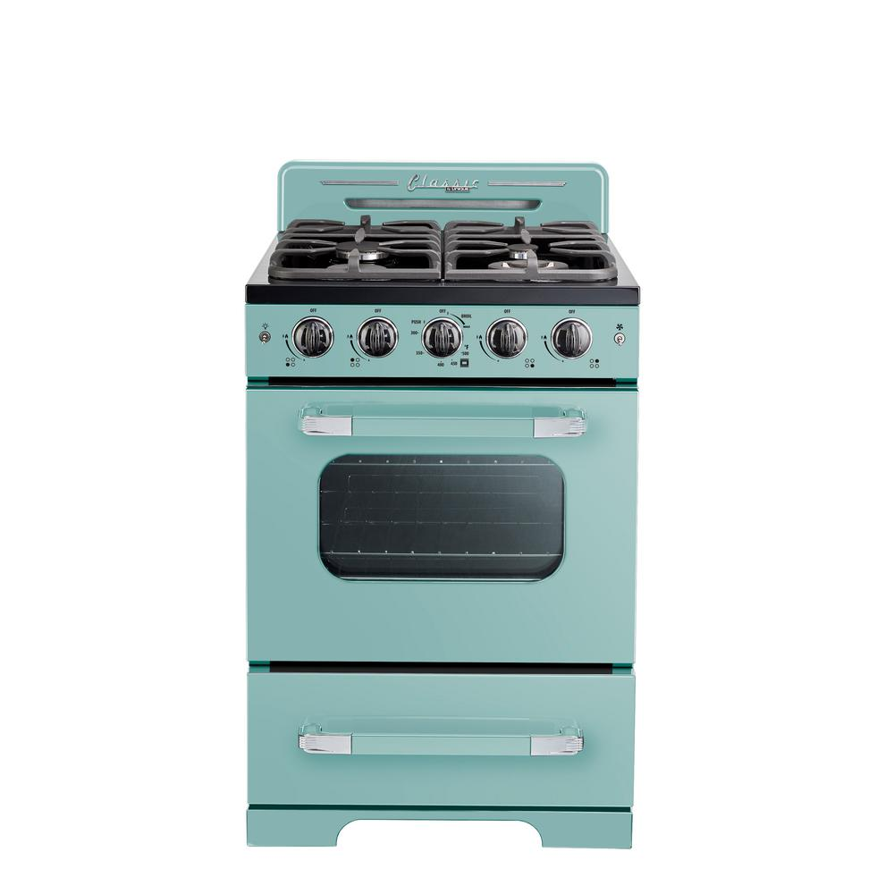 Unique Classic Retro 24 in. 2.9 cu. ft. Gas Range with Convection Oven in Ocean Mist Turquoise