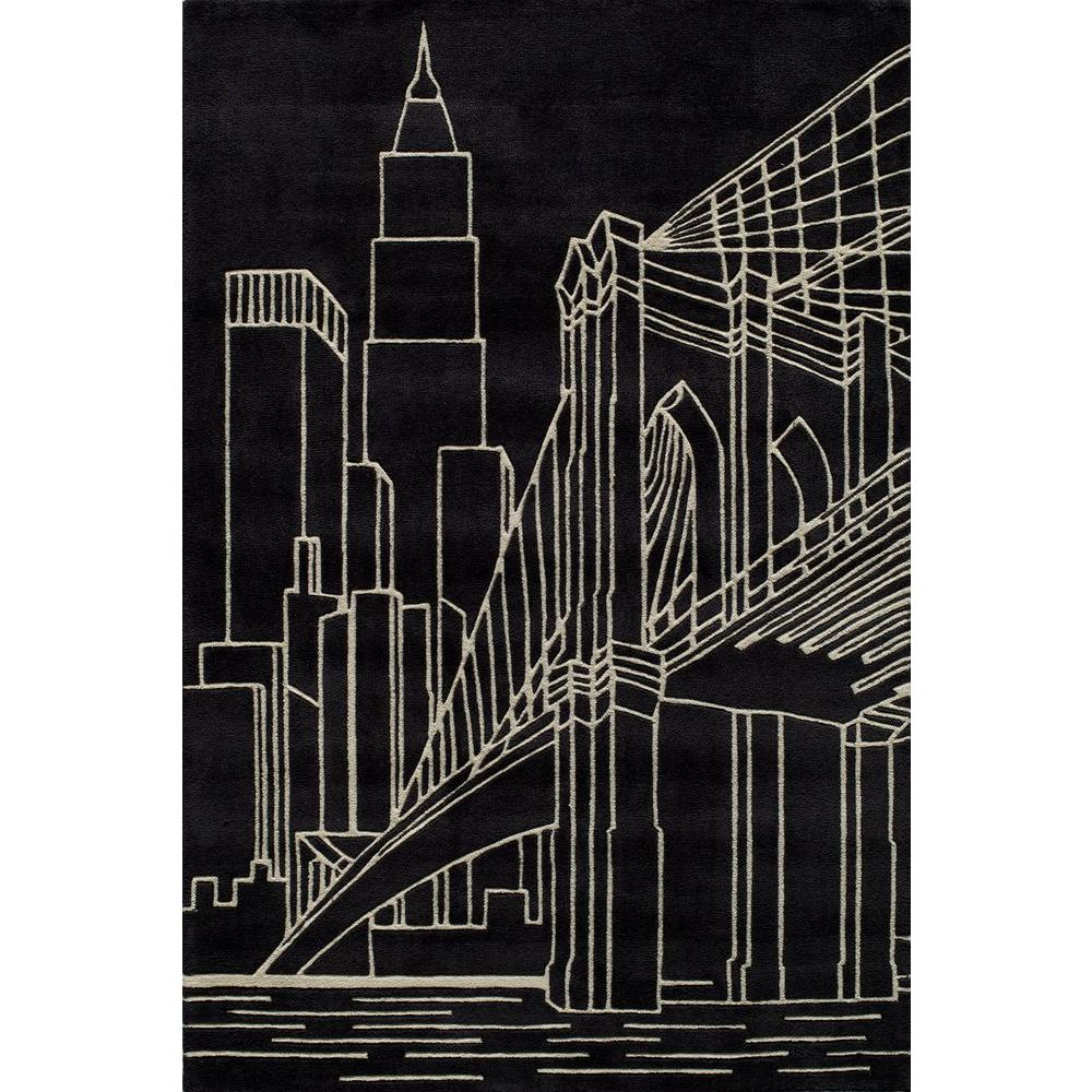 Young Buck Collection Black 4 ft. x 6 ft. Area Rug