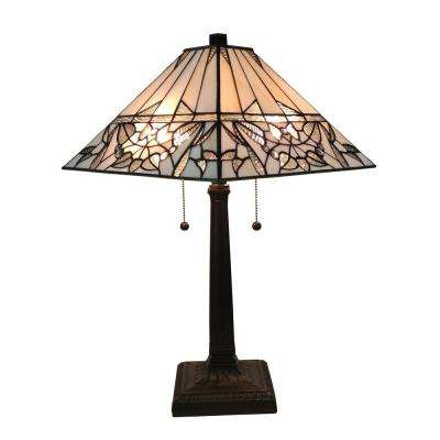 Tiffany Style 22 in. Tall White Mission Table Lamp
