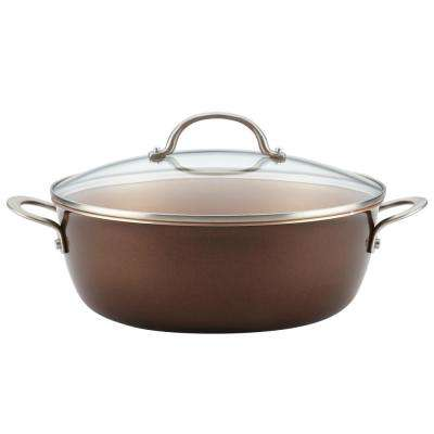 Home Collection 7.5 Qt. Porcelain Enamel Nonstick One Pot Meal Stockpot in Brown Sugar
