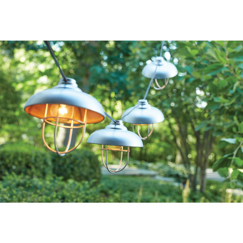 8-Light Hood and Cage Outdoor Hanging Cafe String Light